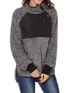 [Quality] Long Sleeve Asymmetrical Snap Neck Fleece Pullover Outwear - BelleChloe