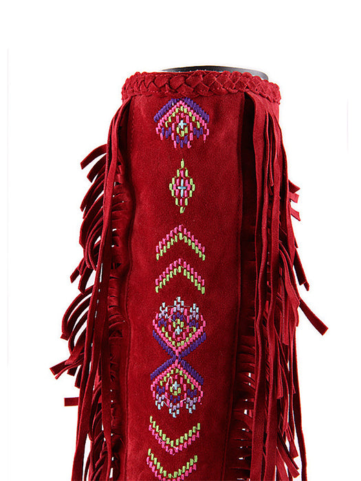 Suede Ethnic Tassel Embroidery Boots For Women-Boots-BelleChloe