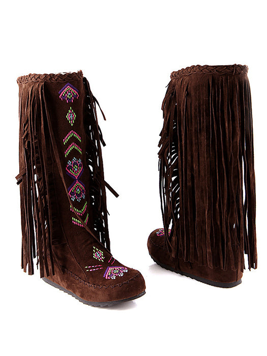 Suede Ethnic Tassel Embroidery Boots For Women - BelleChloe