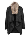 Faux Fur Collar Asymmetric Hem Patchwork Coat - BelleChloe