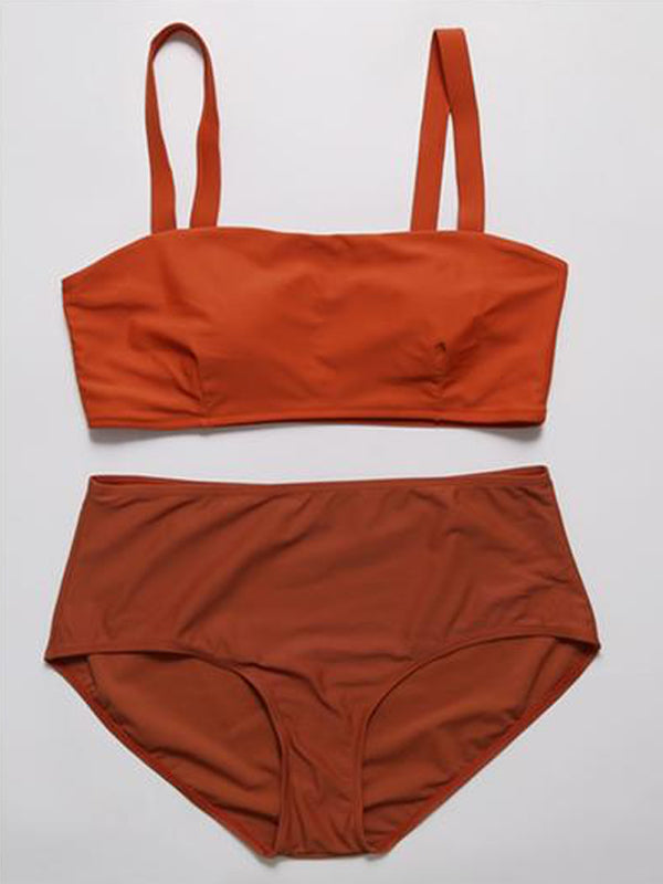 Solid Color Stitching High Waist Split Swimsuit - BelleChloe
