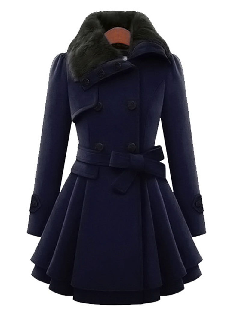 Mid-Length Woolen Coat Double-Breasted Thick Coat - BelleChloe