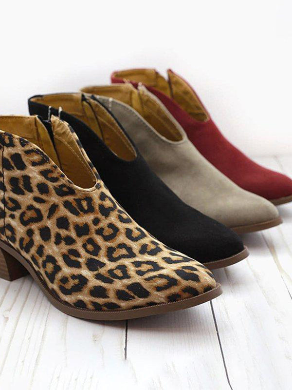 Leopard Pattern Autumn Winter Ankle Boots Chunky Boots - BelleChloe
