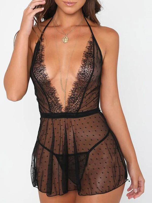 Sexy Erotic Costumes Underwear Sex Porn Babydoll Transparent Lace Dress - BelleChloe
