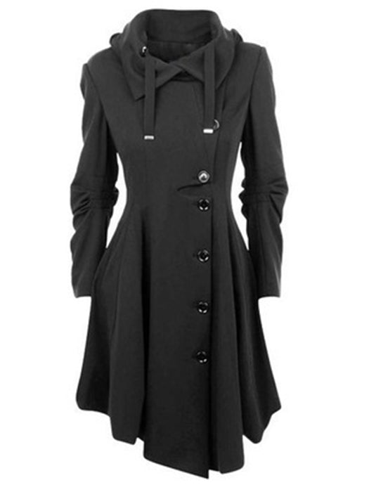 Irregular Turn-Down Collar Single Breasted Overcoat - BelleChloe