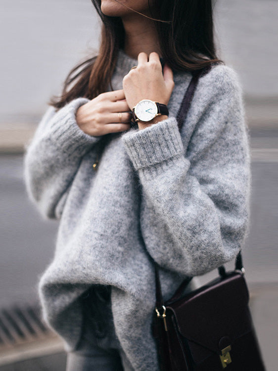 Loose Knit Round Neck Pullover Sweater - BelleChloe