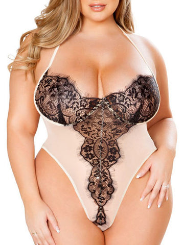 Plus Size Backless Lingerie Lace Teddy