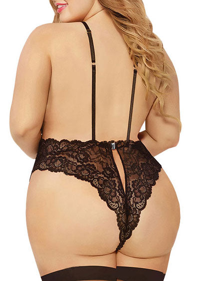 Plus Size Backless Lingerie Lace Teddy - BelleChloe