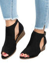 Large Size Ankle Strap Peep Toe Wedge Sandals - BelleChloe