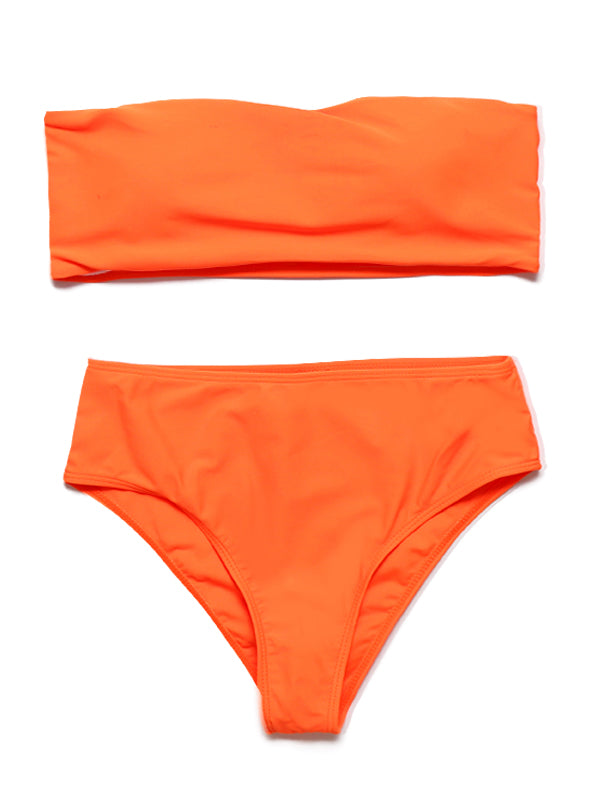 Solid Color Tube Top High Waist Triangle Sexy Bikini
