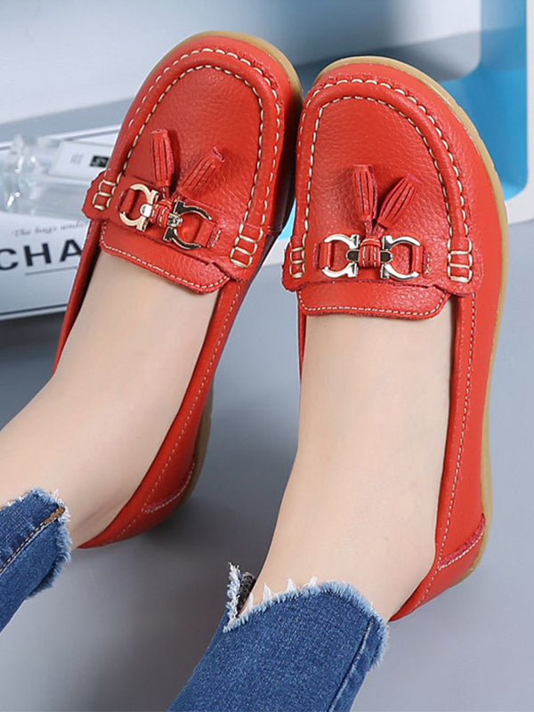 Women's  Comfortable Slip-On Nurse Work Wedge Real Leather Loafers