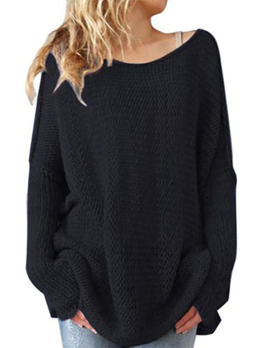 Solid Color Hollow Loose Casual Round Neck Knitted Sweater - BelleChloe