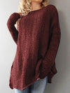 Solid Color Hollow Loose Casual Round Neck Knitted Sweater-Sweaters-BelleChloe