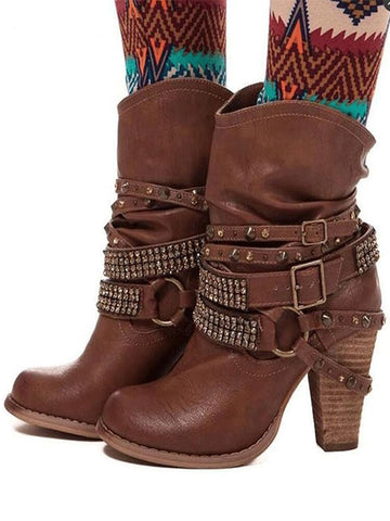 Suede Ethnic Tassel Embroidery Boots For Women