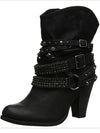 Women High-heeled Ankle Boots Belt Buckle Rhinestones Martin Ankle Boots - BelleChloe