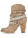 Women High-heeled Ankle Boots Belt Buckle Rhinestones Martin Ankle Boots