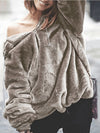 Casual Solid Thick Pullover Hoodie Sweater - BelleChloe
