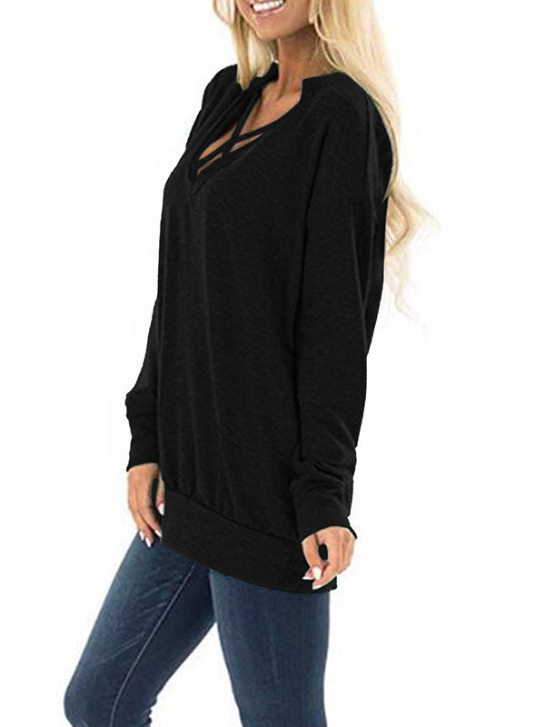 Sexy Tight V-Neck Crossover Design Casual Top - BelleChloe