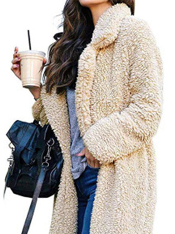 Women Casual Long Sleeve Lapel Open Front Faux Shearling Shaggy  Cardigan Coat - BelleChloe