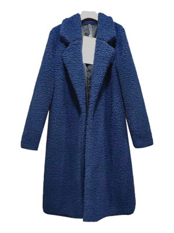Women Casual Long Sleeve Lapel Open Front Faux Shearling Shaggy  Cardigan Coat