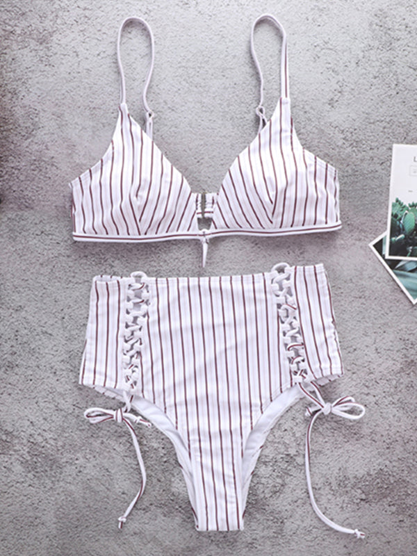 Striped Strap Adjustable Swimsuit