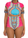 National Style Color Matching Split High Waist Swimsuit