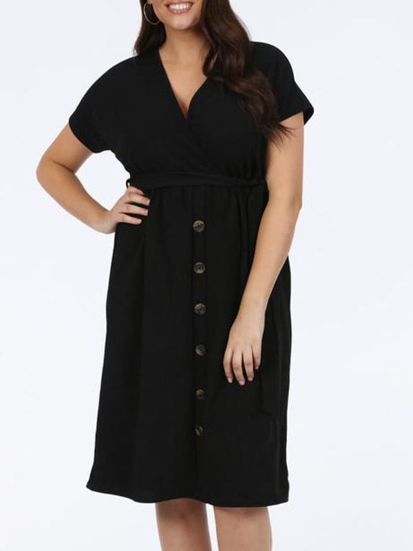 Casual Plus Size Dress  V-neck Short Sleeve High Waist Buttons Loose Mid-length Dress - BelleChloe