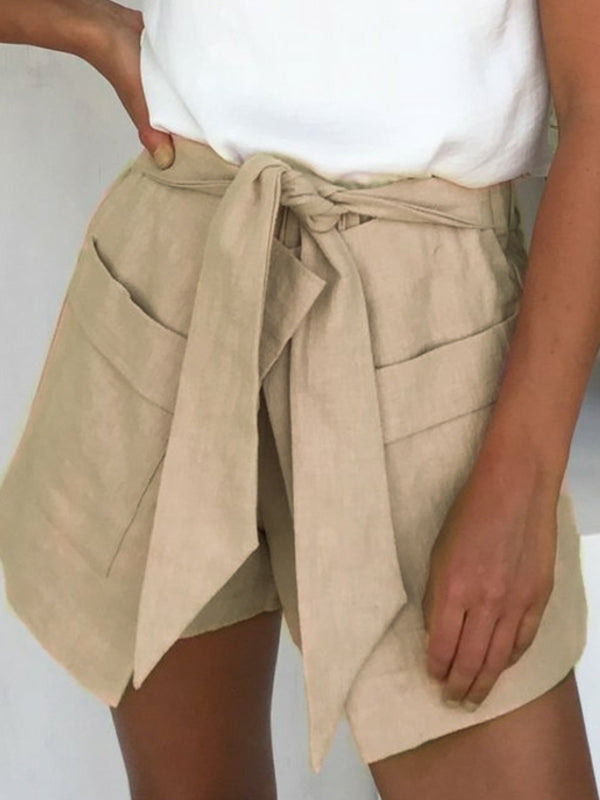 Elastic High Waist Linen Shorts Irregular Sash Pocket  Streetwear Casual Shorts Pants - BelleChloe