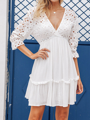 0db517ea64 Elegant V-neck Embroidery Ruffle Pleated Cotton Lace Up Casual Sexy Hollow  Dress