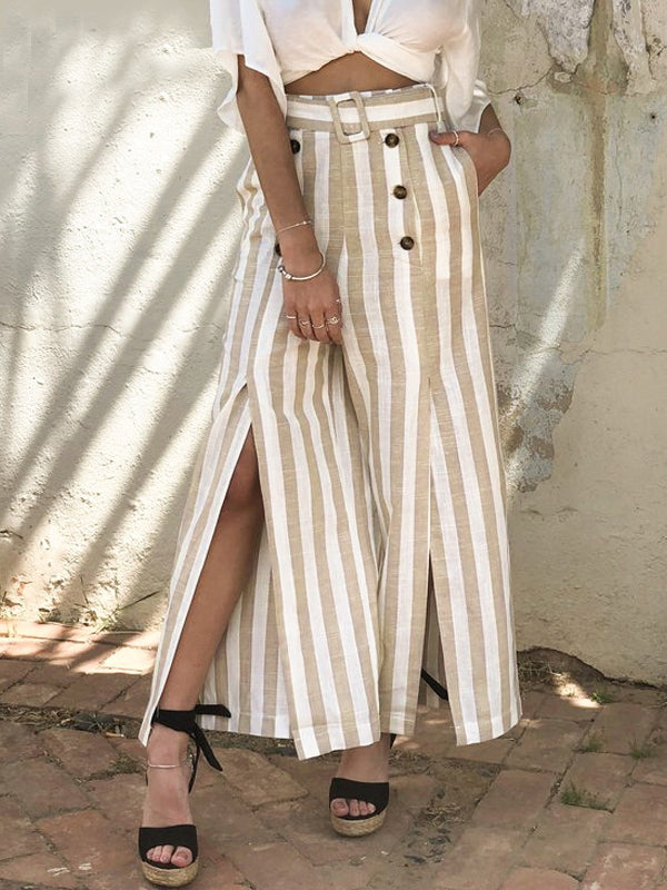 Striped Split Sash  Elastic High Waist Wide Leg Button Linen Pants
