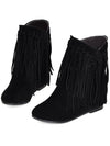 Casual Pu Leather Tassel Flat-Heel Ankle Boots - BelleChloe