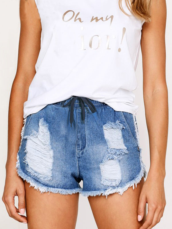 Casual Sexy High Waist Beach  Fringe Denim Short Pants - BelleChloe