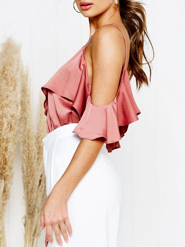Ruffles Satin Crop Sexy V-neck Shoulder Backless Tank