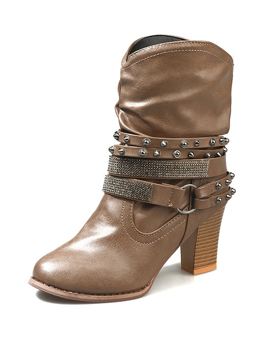 Fashionable Rivet Buckle High-Heel Middle Boots - BelleChloe