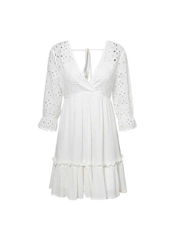 Elegant V-neck Embroidery Ruffle Pleated Cotton Lace Up  Casual Sexy Hollow Dress - BelleChloe
