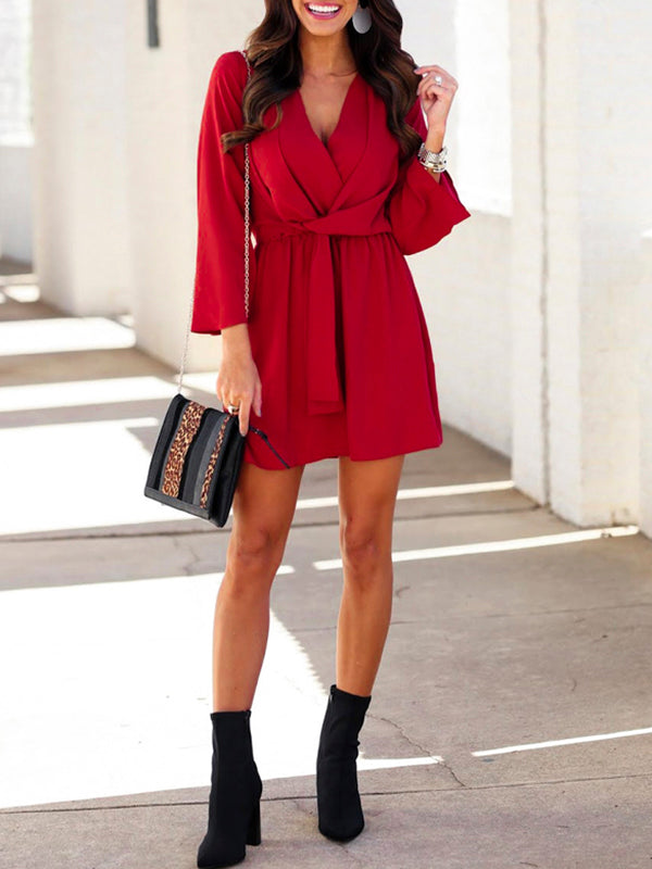 Sexy  V-neck Loose High Waist Casual Flare Sleeve Elegant  Dress