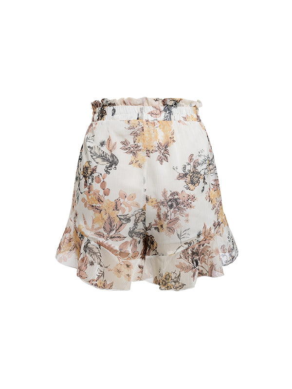 Sexy Print High Waist Loose Casual Ruffles Beach Short Pants