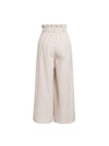 Elegant Striped Wide Leg Long Casual Pants Bow High Waist Cotton Flare Pants - BelleChloe