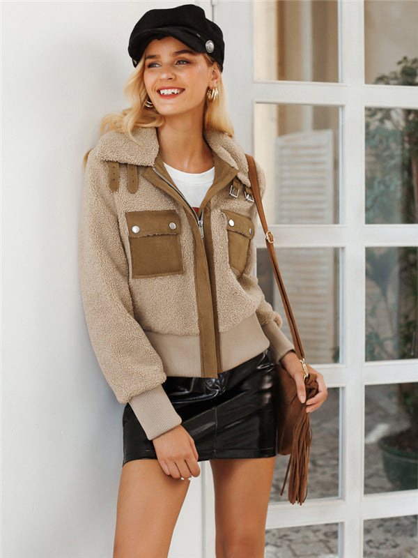 Faux Lambswool Khaki  Short Zipper Jacket - BelleChloe