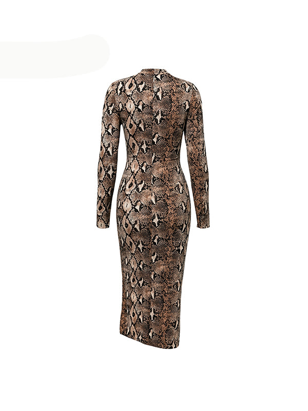 Sexy Leopard Print Sashes Stretch Elegant Long Dresss