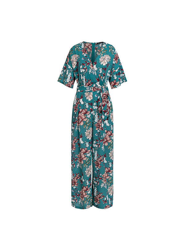 Vintage V-neck Floral Print Elegant Short Sleeve Sashes High Waist Jumpsuit