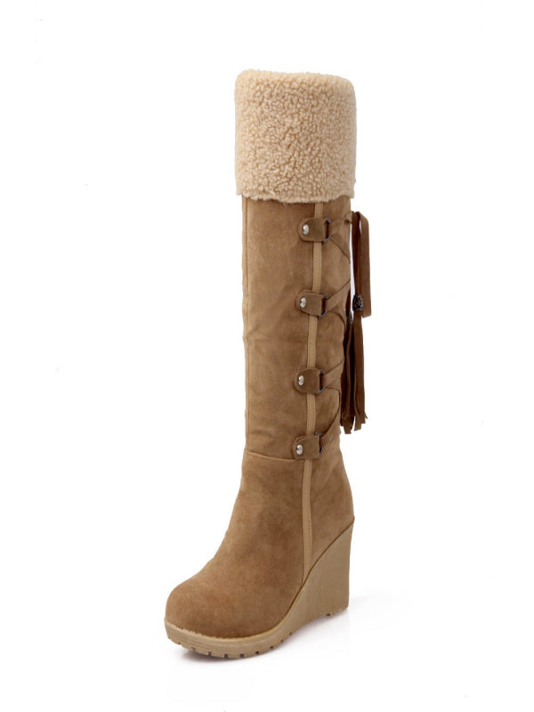 Solid Color Fur Long Tube Thick Heel Fashion Adjustable Tube Boots - BelleChloe