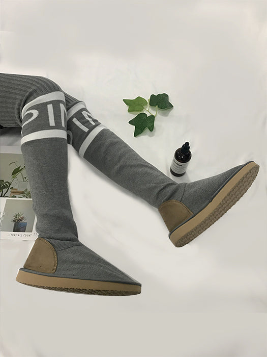 Casual Knitted Letter Print Long Boots-Boots-BelleChloe