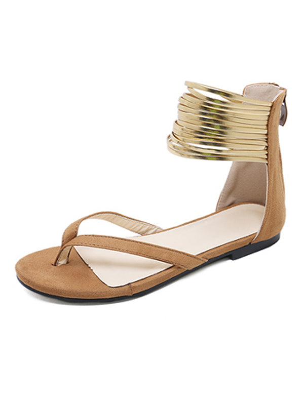 Toe Gold-Tone Footband Fashion Flat Sandals - BelleChloe