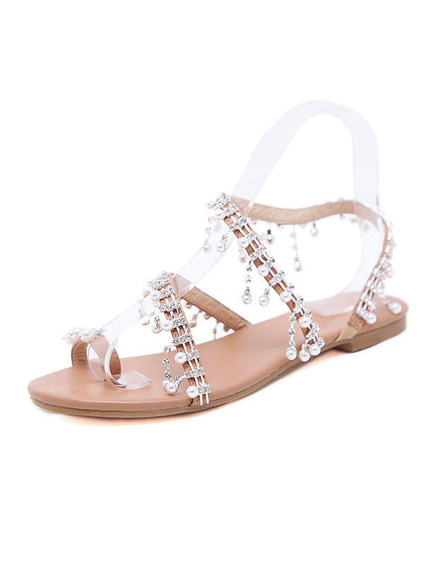 Roman Beaded Flat Sandals - BelleChloe