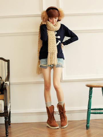 [Quality] Knitted Fabric Attached Boots Warm Flat Boots