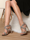Pointed Fine Heel Cross Strap Sandals - BelleChloe