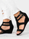Woman Wedges Sandals With Buckles Hollow Peep Toe