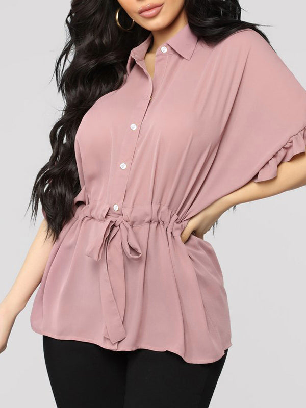 Casual Ruffle Loose Short Sleeve Sashes Elegant  Solid Colar T-shirt - BelleChloe
