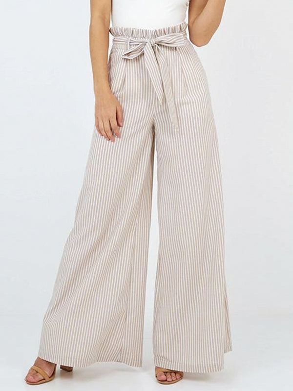 Elegant Striped Wide Leg Long Casual Pants Bow High Waist Cotton Flare Pants